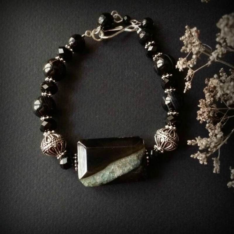 Чорний браслет зі сріблом з агату Чорний агат, чеське скло, срібло Для Щастя - фото 2