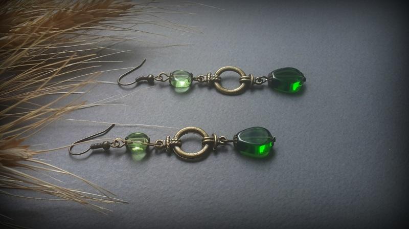 Зеленые серьги Яркая трава  чешское  стекло, фурнитур Для Счастья - фото 2