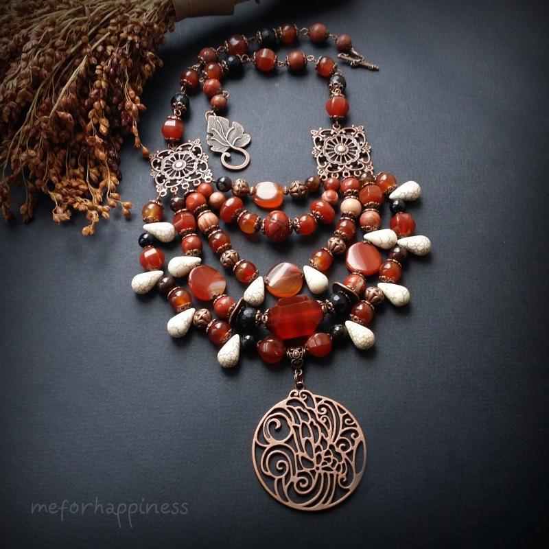 Красное ожерелье Рассвет в горах Разноцветный сердолик, агат, красная я Для Счастья - фото 2