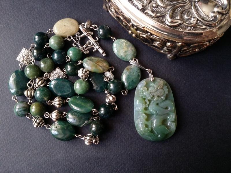 Водяной дракон Косуйро Зеленый агат, серебро 925 пробы - Для Счастья - фото 3