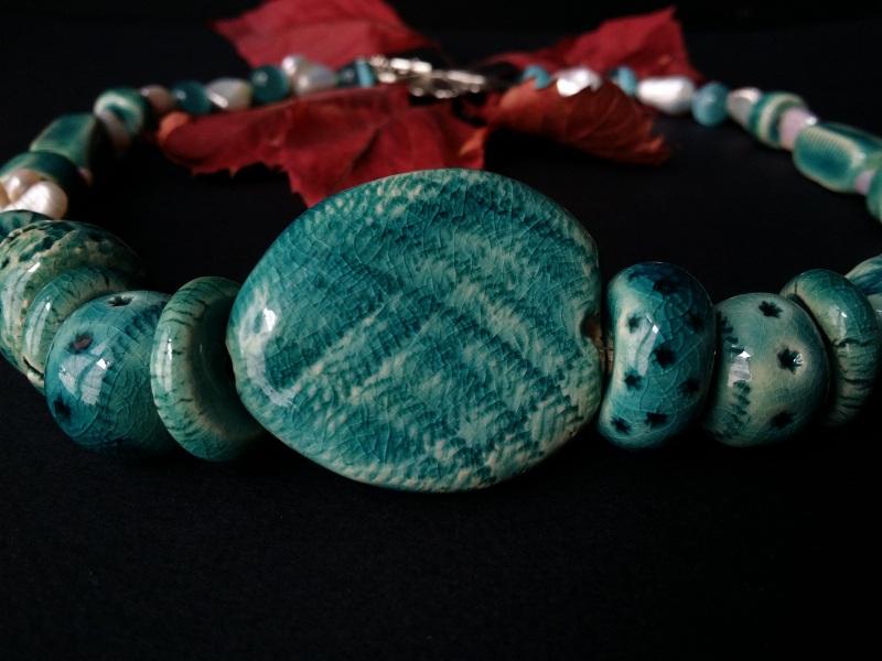 Голубые бусы из керамики Голубая лагуна  авторская керамика ручной Для Счастья - фото 2