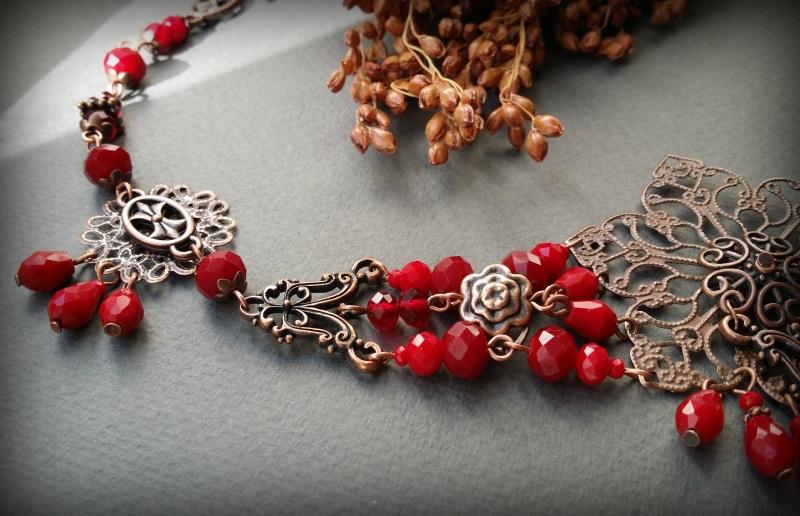 Рябиновое короткое красное колье Красный Чешское стекло, фурнитура Для Счастья - фото 4