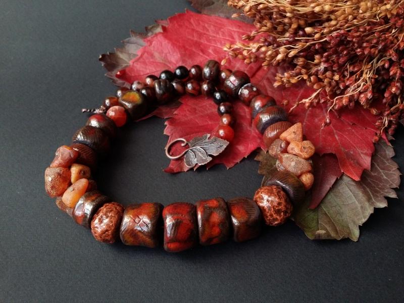 Красно коричневые бусы Огненная саламандра  авторская керамика ручной Для Счастья - фото 1