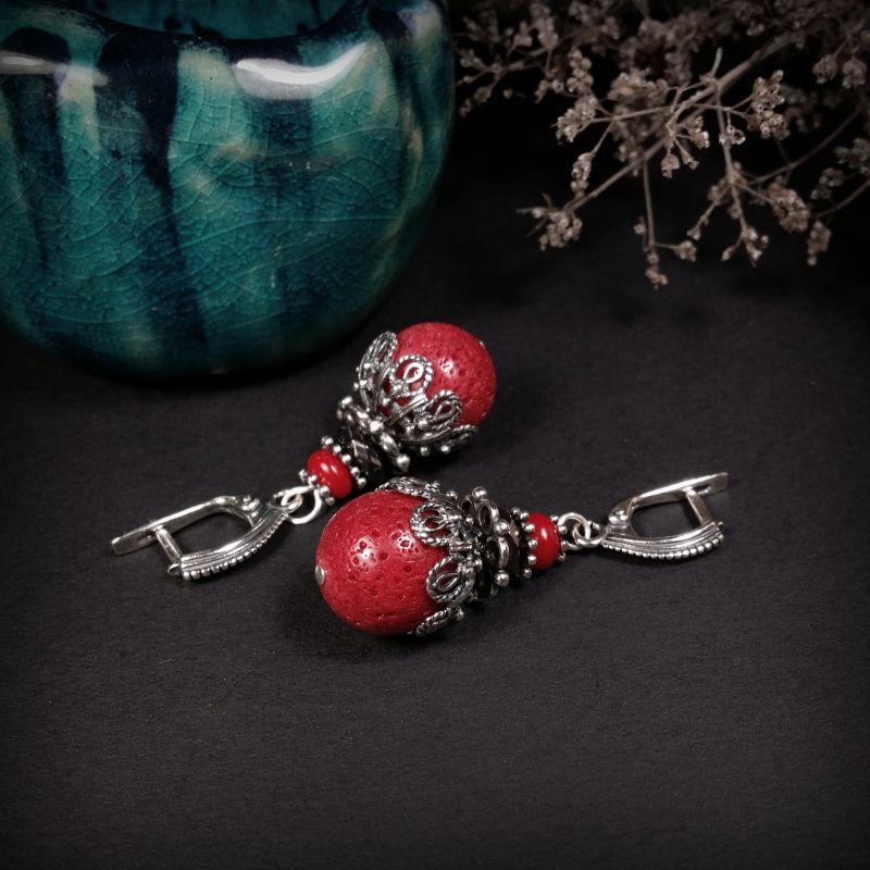 Коралловые звоночки с серебром 925 Красный коралл, гематит, серебро Для Счастья - фото 1
