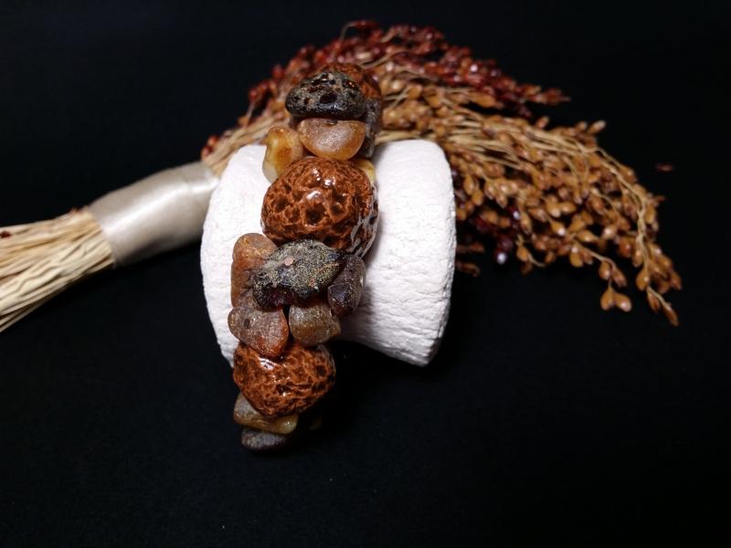 Браслет янтарный с керамикой и агатами  авторская керамика ручной Для Счастья - фото 4