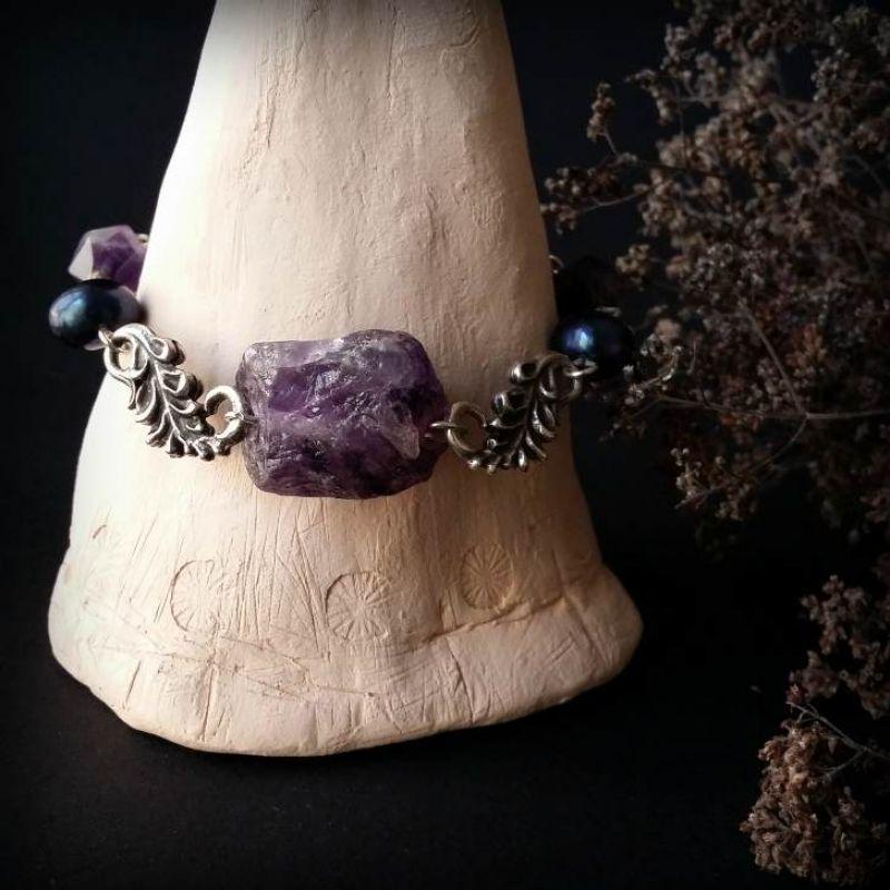 Аметистовий браслет з синіми перлами Фіолетовий аметист, синий жемчуг, по Для Щастя - фото 2