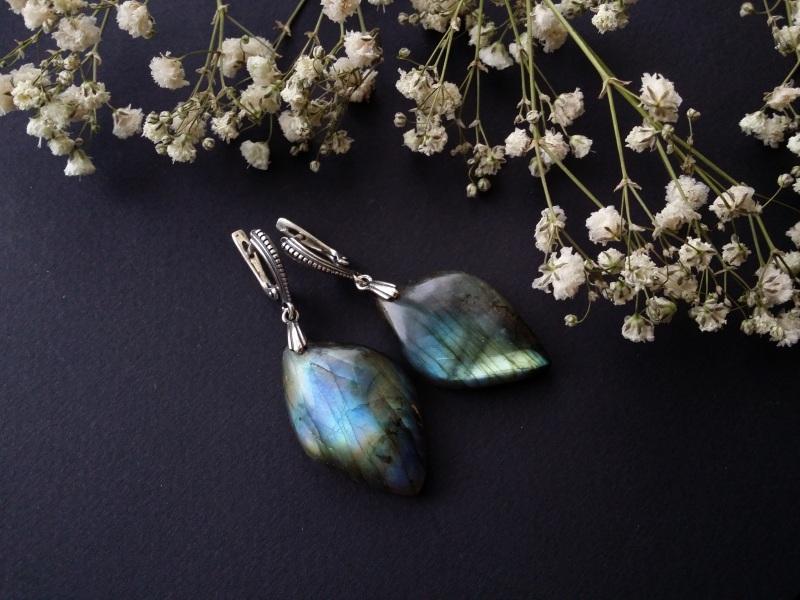 Серебряные серьги с лабрадором  лабрадор, серебро 925 про Для Счастья - фото 1
