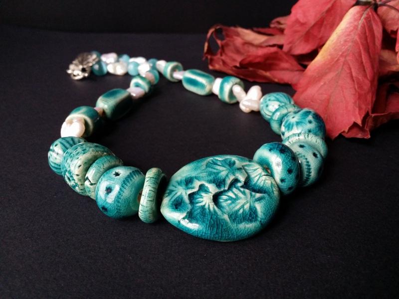 Голубые бусы из керамики Голубая лагуна  авторская керамика ручной Для Счастья - фото 1
