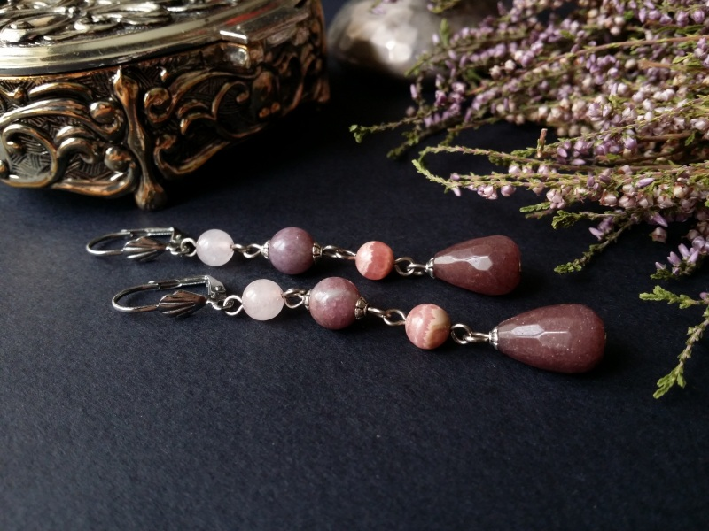 Длинные розовые серьги с лапидолитом  клубничный и розовый квар Для Счастья - фото 1