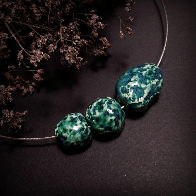 Керамический бирюзовый кулон Глубина Зеленый керамические бусины ручно Для Счастья - фото 1