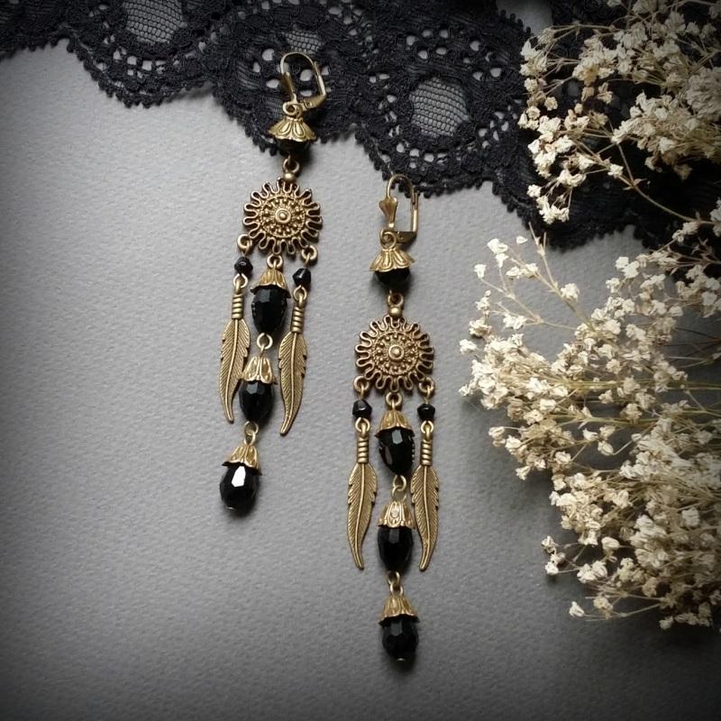 Бронзовые черные серьги с перьями Пустыня палящего солнца  чешское стекло, фурнитура Для Счастья - фото 1