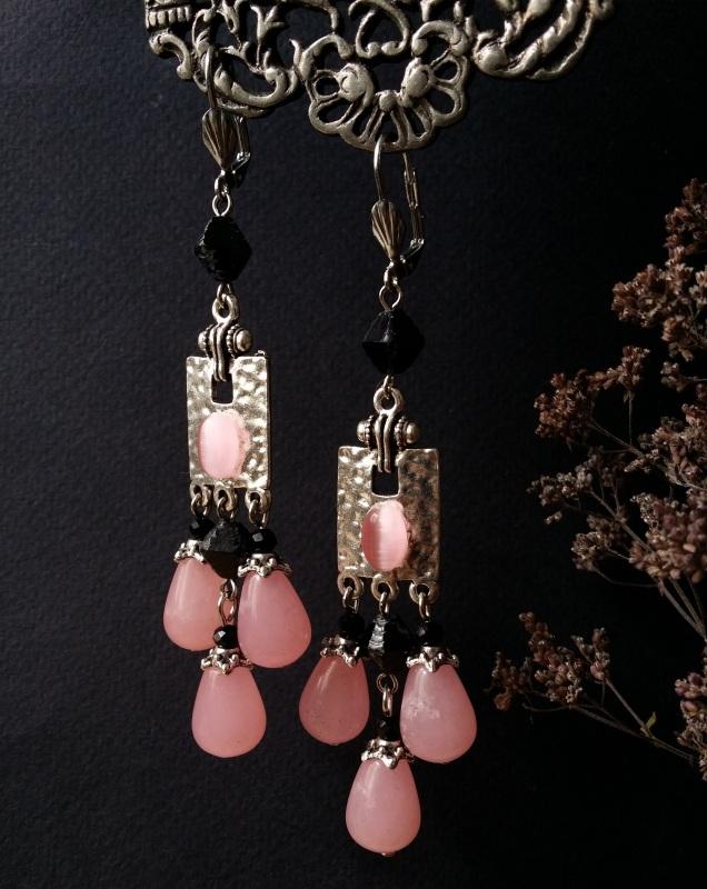 Розовые серьги с черным стеклом  розовый кварц, чешское ст Для Счастья - фото 1