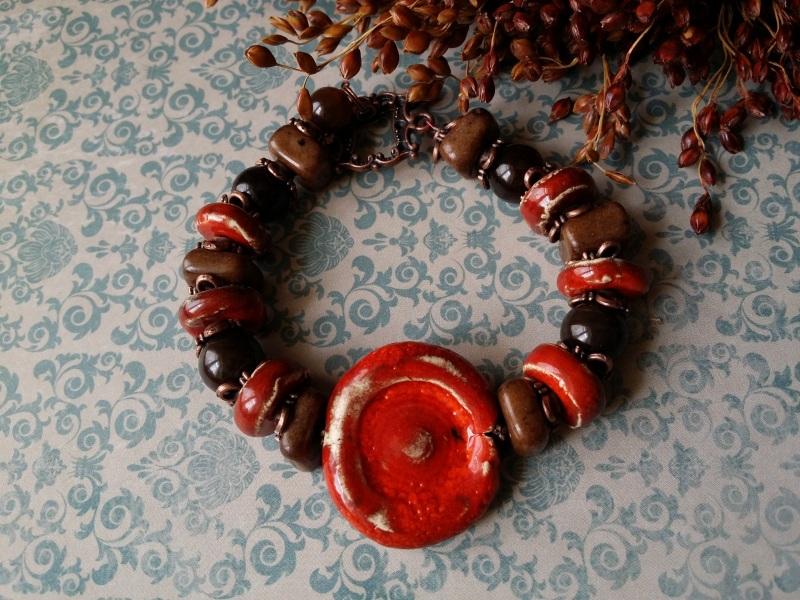 Красно - коричневый браслет из керамики Красный керамика ручной работы, а Для Счастья - фото 2