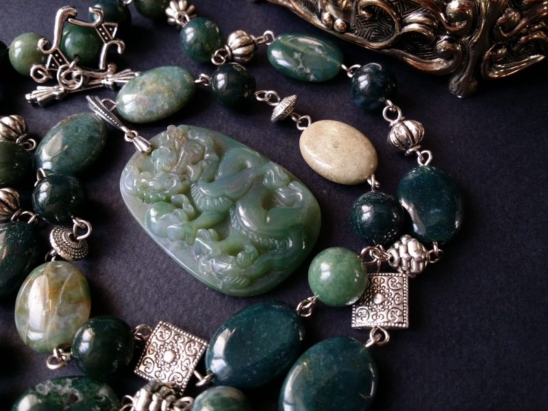 Водяной дракон Косуйро Зеленый агат, серебро 925 пробы - Для Счастья - фото 1