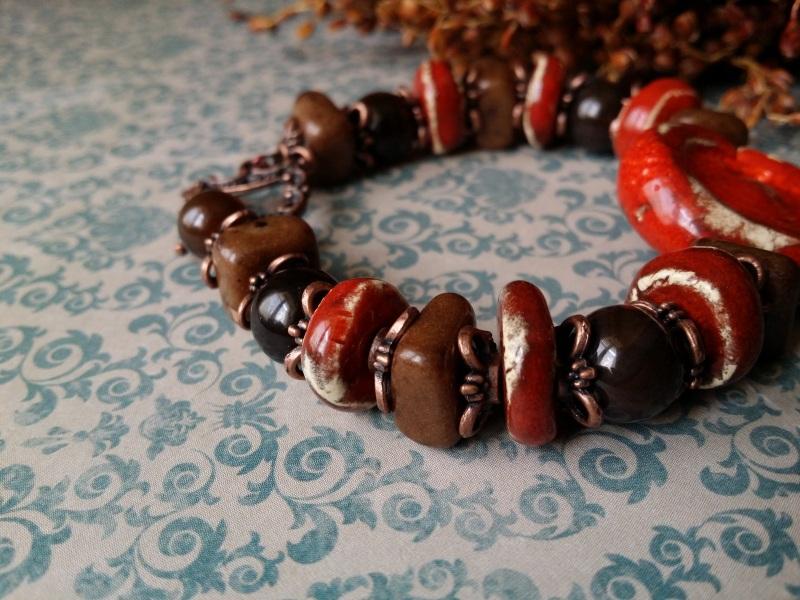 Красно - коричневый браслет из керамики Красный керамика ручной работы, а Для Счастья - фото 3