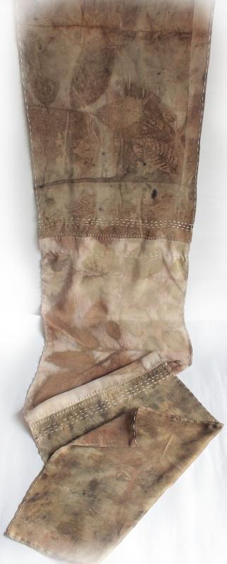 Шелковый шарф Шелковый мозаика Коричневый шелк, екопринт Мастерская Теплых Подарков - фото 2