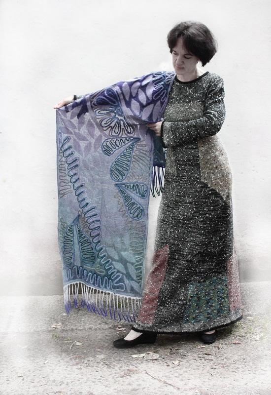 Шелковый палантин невесомый изумруд  Валяный палантин, разреже Мастерская Теплых Подарков - фото 3