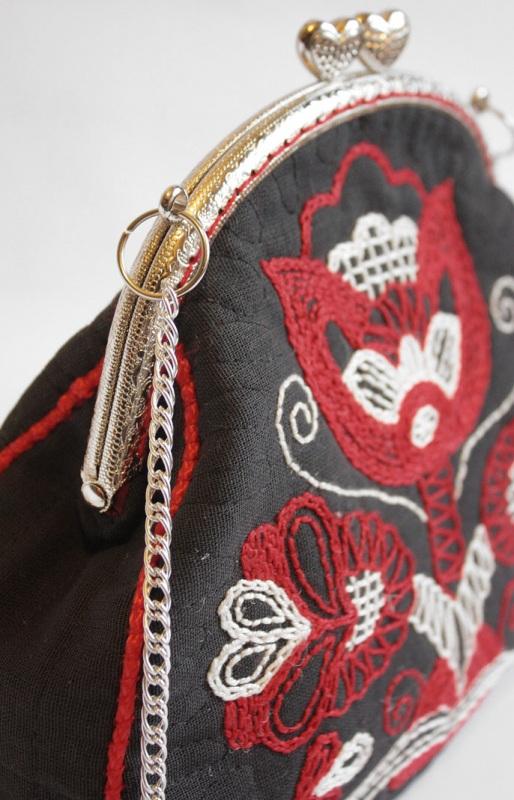 Авторская сумка - клатч Праздничная  Лен, вышивка, фурнитура Мастерская Теплых Подарков - фото 5