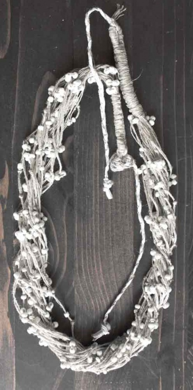 """Ожерелье из натурального льна """"Морозная роса""""  натуральные льняные нити Мастерская Теплых Подарков - фото 4"""
