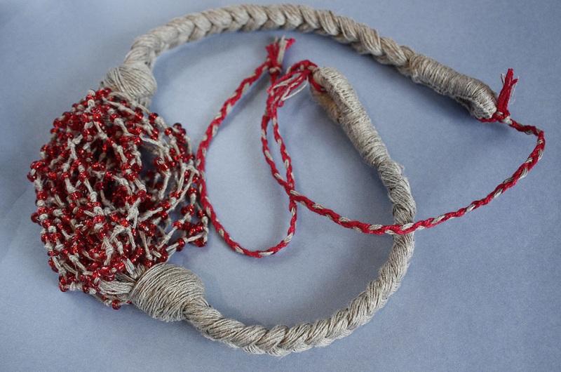 """Ожерелье из натурального льна """"Маковая паутина"""" Красный Натуральная льняная нить, Мастерская Теплых Подарков - фото 2"""