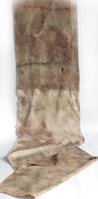 Шелковый шарф Шелковый мозаика Коричневый шелк, екопринт Мастерская Теплых Подарков - фото 3