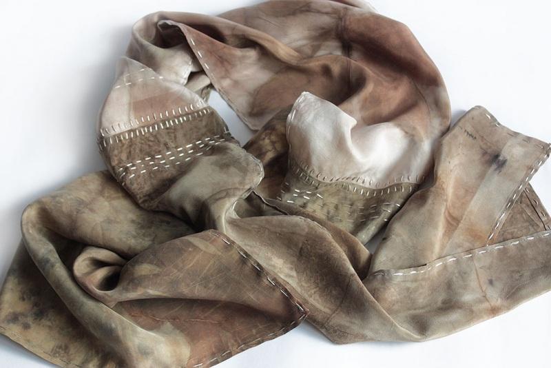 Шелковый шарф Шелковый мозаика Коричневый шелк, екопринт Мастерская Теплых Подарков - фото 7