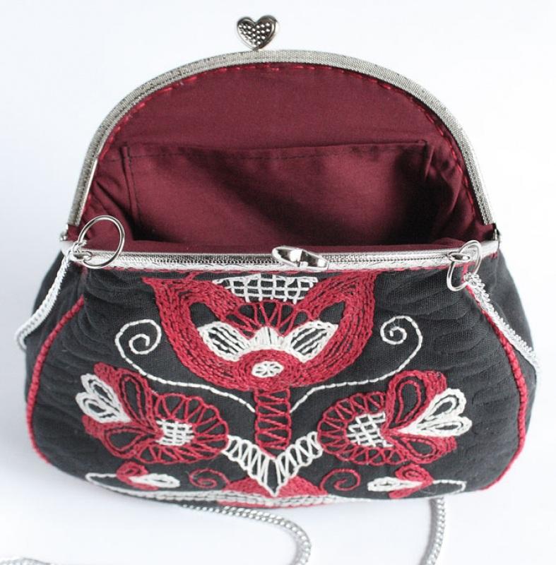 Авторская сумка - клатч Праздничная  Лен, вышивка, фурнитура Мастерская Теплых Подарков - фото 2