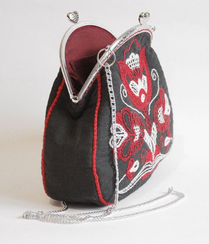 Авторская сумка - клатч Праздничная  Лен, вышивка, фурнитура Мастерская Теплых Подарков - фото 6