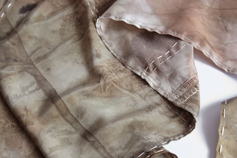 Шелковый шарф Шелковый мозаика Коричневый шелк, екопринт Мастерская Теплых Подарков - фото 6