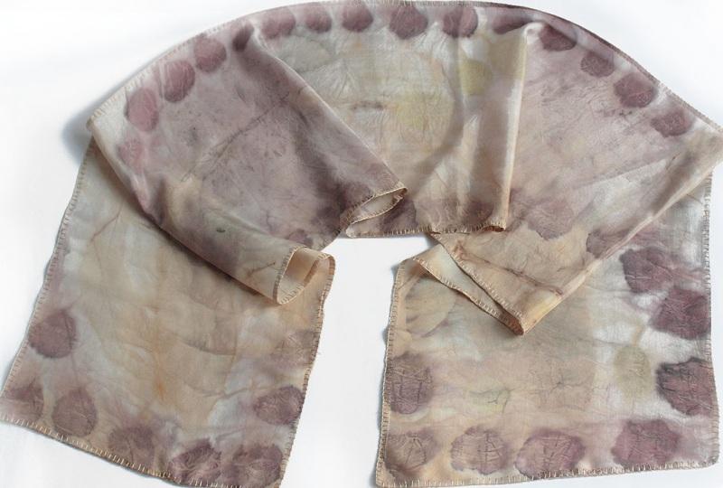 Шелковый шарф Розовый аромат Разноцветный шелк, екоприпнт Мастерская Теплых Подарков - фото 1