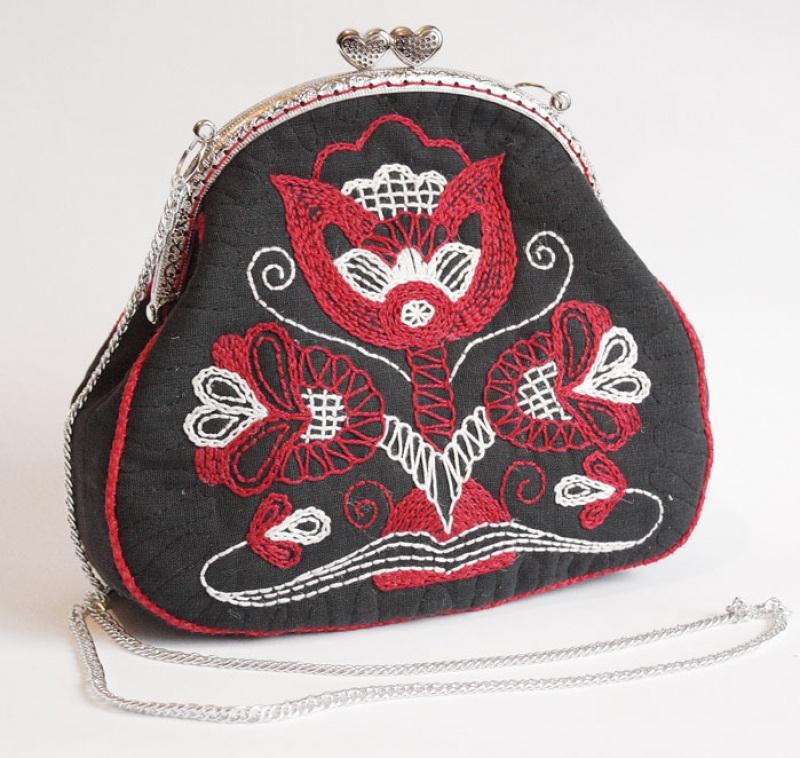 Авторская сумка - клатч Праздничная  Лен, вышивка, фурнитура Мастерская Теплых Подарков - фото 4