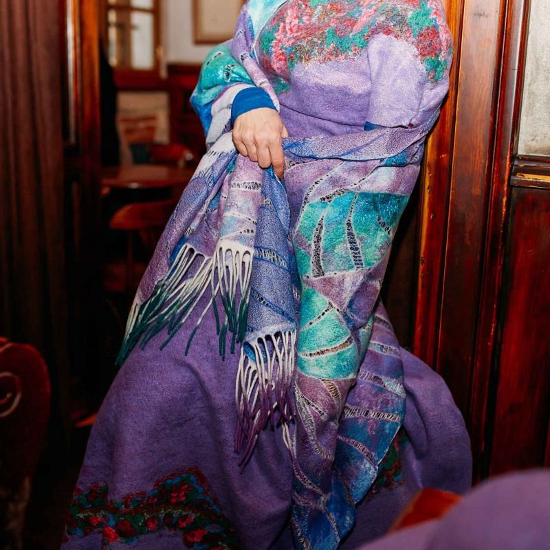 Шелково-шерстяной палантин ВОЛНЫ МЕЧТЫ Фиолетовый Шелк, мериносовая шерсть, Мастерская Теплых Подарков - фото 3