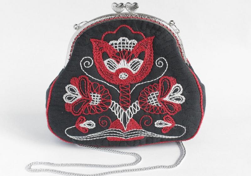 Авторская сумка - клатч Праздничная  Лен, вышивка, фурнитура Мастерская Теплых Подарков - фото 1