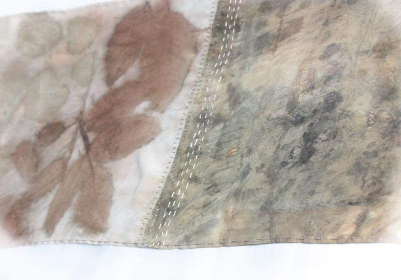 Шелковый шарф Шелковый мозаика Коричневый шелк, екопринт Мастерская Теплых Подарков - фото 4