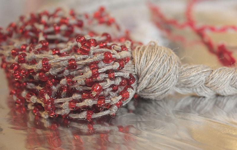 """Ожерелье из натурального льна """"Маковая паутина"""" Красный Натуральная льняная нить, Мастерская Теплых Подарков - фото 4"""