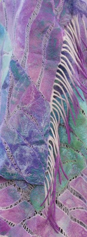 Шелково-шерстяной палантин ВОЛНЫ МЕЧТЫ Фиолетовый Шелк, мериносовая шерсть, Мастерская Теплых Подарков - фото 5
