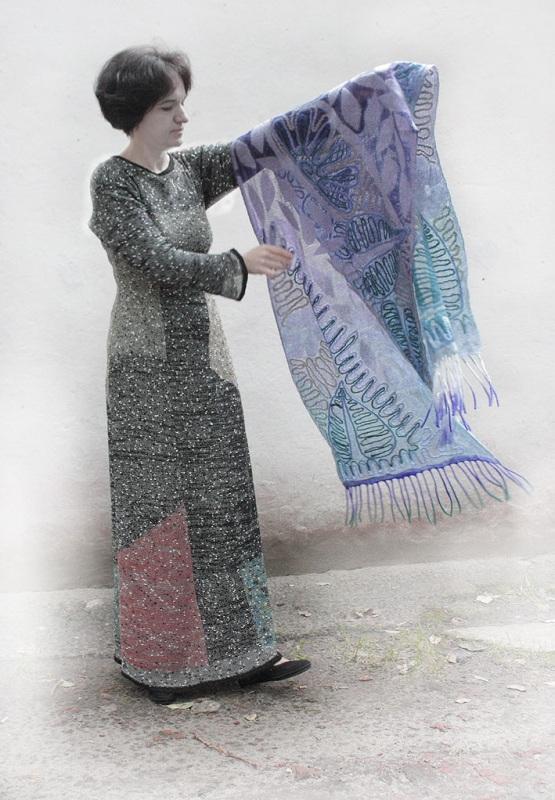 Шелковый палантин невесомый изумруд  Валяный палантин, разреже Мастерская Теплых Подарков - фото 4