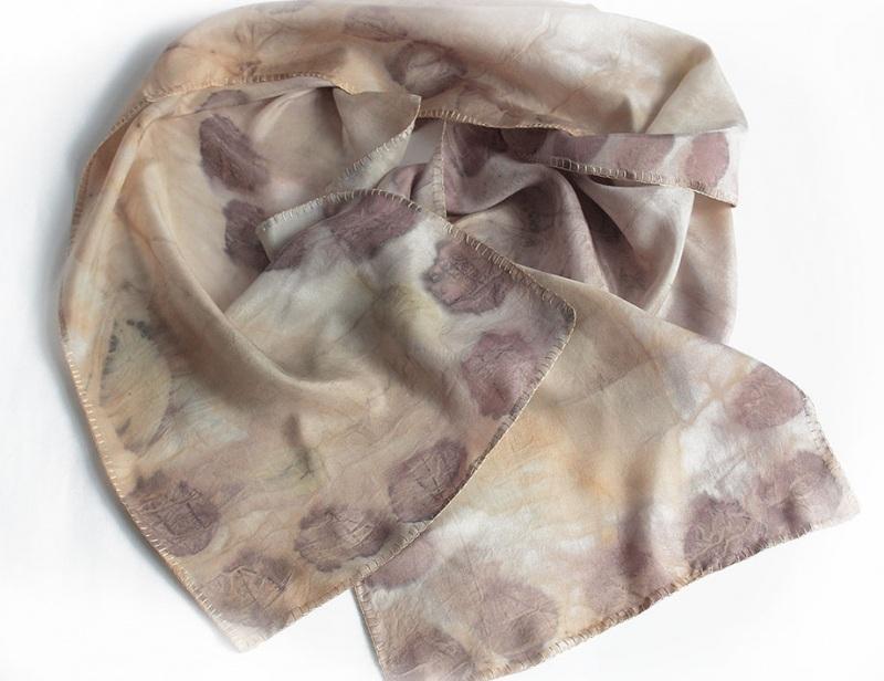 Шелковый шарф Розовый аромат Разноцветный шелк, екоприпнт Мастерская Теплых Подарков - фото 4