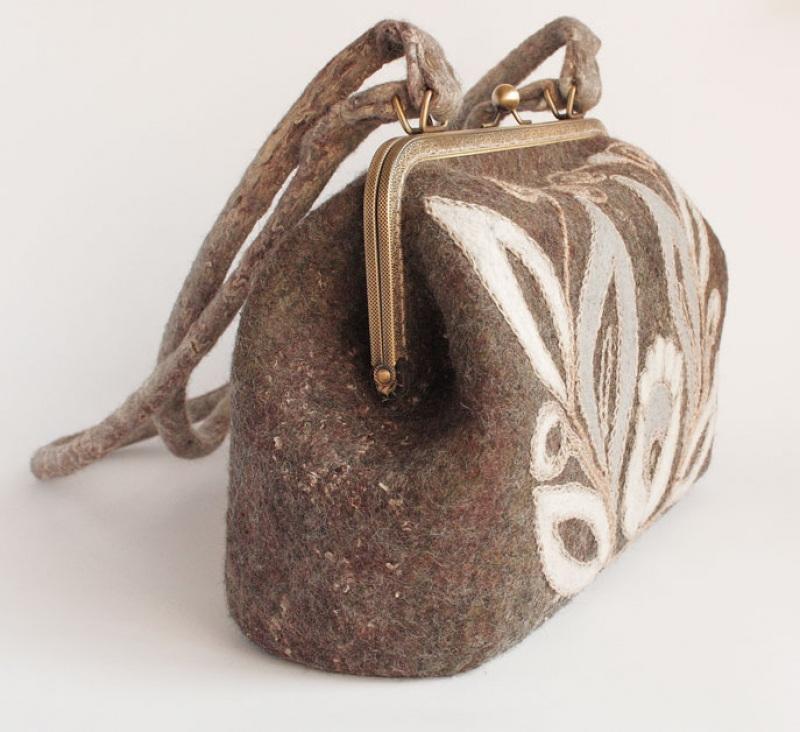 """Валяная сумочка-саквояж """"Волшебный Цветок"""" Коричневый Шерсть мериноса, шерсть Г Мастерская Теплых Подарков - фото 2"""