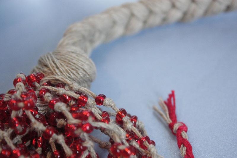 """Ожерелье из натурального льна """"Маковая паутина"""" Красный Натуральная льняная нить, Мастерская Теплых Подарков - фото 7"""