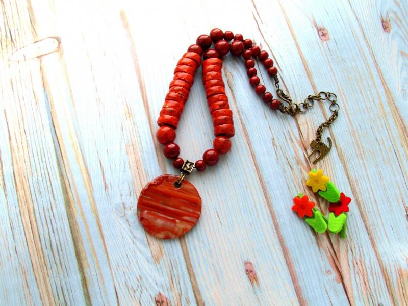 Ой в роще, при Дунаю (3) Красный Керамические бусины ручно Фарион Вера - фото 1
