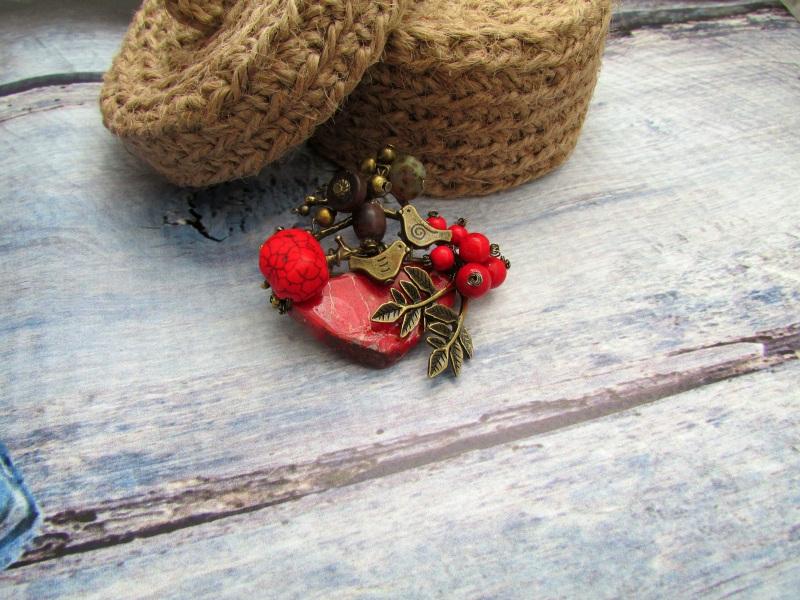 Брошь Неразлучные Красный Варисцит, говлит, индийск Фарион Вера - фото 1