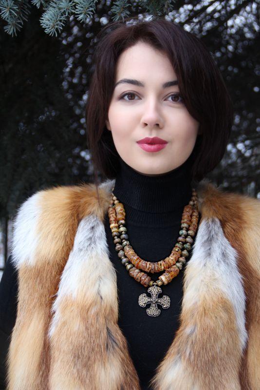 Казацкий крест с солнечным камнем Желтый Натуральный янтарь, яшма, Федоришин Татьяна - фото 2