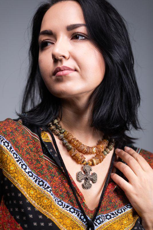 Казацкий крест с солнечным камнем Желтый Натуральный янтарь, яшма, Федоришин Татьяна - фото 3