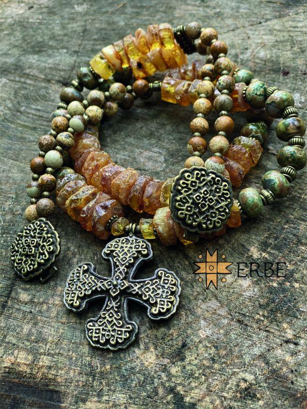 Казацкий крест с солнечным камнем Желтый Натуральный янтарь, яшма, Федоришин Татьяна - фото 4