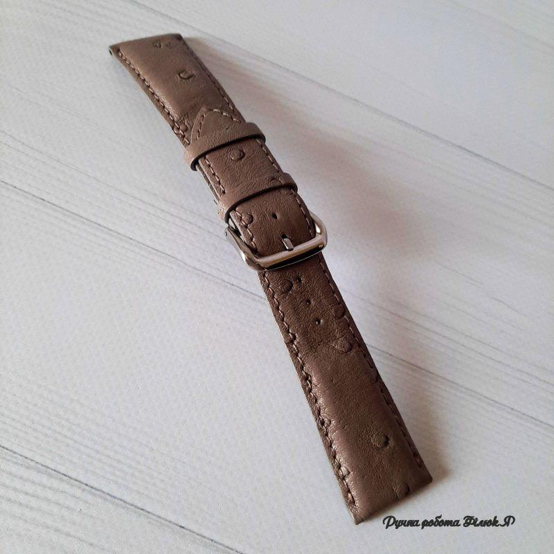 Ремешок для часов Коричневый Натуральная кожа страуса Филюк Яна - фото 1