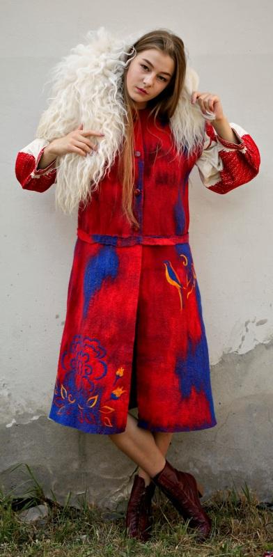 """Кардиган """"Радость жизни"""" Красный шерсть австралийских мери Галамага Виктория - фото 4"""