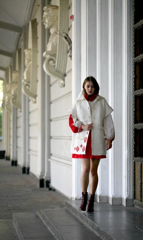 """Жакет-кардиган """"Франция"""" Белый шерсть австралийских мери Галамага Виктория - фото 2"""