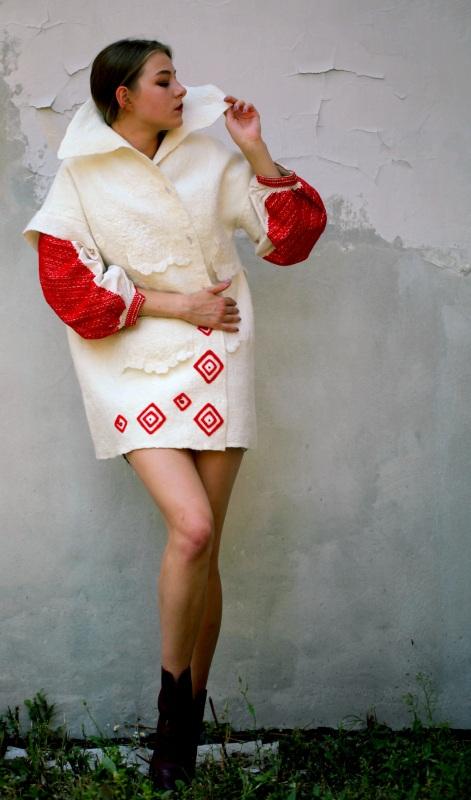 """Жакет-кардиган """"Франция"""" Белый шерсть австралийских мери Галамага Виктория - фото 1"""