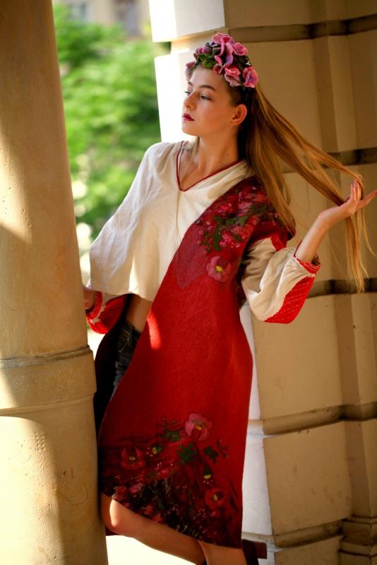 """Кардиган """"Весна"""" Красный вовна австралійських мери Галамага Виктория - фото 5"""